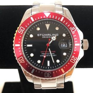 Stührling Original Pro Diver Watch Rose Red Silver